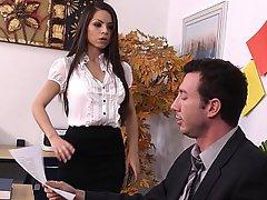 Big Tits, Blowjob, Brunette, Office